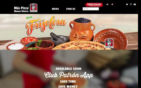 Screenshot of Home Page pizzapatron.com - Pizza Patrón - - captured Dec. 9, 2015