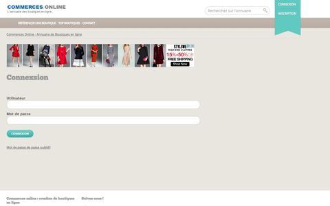 Screenshot of Login Page commerces-online.fr - Commerces Online - Annuaire de Boutiques en ligne - captured Nov. 27, 2016
