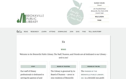 Screenshot of Contact Page FAQ Page Maps & Directions Page Hours Page bronxvillelibrary.org - Us - captured June 20, 2016