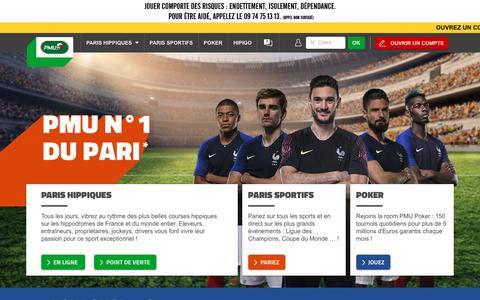 Screenshot of Home Page pmu.fr - Site officiel PMU.fr - Paris Hippiques, Sportifs & Poker en ligne - captured July 15, 2018