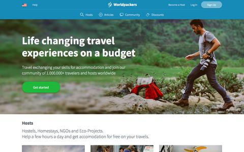 Screenshot of Home Page worldpackers.com - Worldpackers: Work Exchange, Volunteer Abroad, Gap Year - captured March 24, 2018