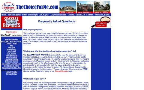 Screenshot of FAQ Page thechoiceforme.com - FAQ | Frequently Asked Questions - captured Oct. 5, 2014