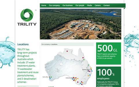 Screenshot of Locations Page trility.com.au - Locations - TRILITY - captured Oct. 8, 2014