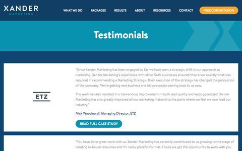 SaaS Client Testimonials - Xander Marketing