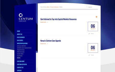 Screenshot of Press Page centum.co.ke - Media - captured Nov. 4, 2014