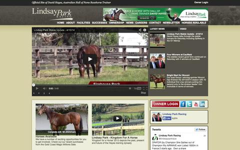 Screenshot of Home Page lindsaypark.com.au - Lindsay Park Racing - Official Site of David Hayes - captured Oct. 8, 2014