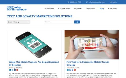 Screenshot of Blog codebroker.com - Articles on Text Message Marketing and Mobile Coupon Marketing - captured Feb. 15, 2019