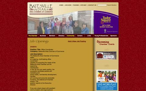 Screenshot of Jobs Page batesvillein.com - Batesville, IN Chamber of Commerce - captured Feb. 7, 2016