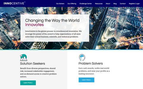 Screenshot of Home Page innocentive.com - InnoCentive | Open Innovation & Crowdsourcing Platform - captured Sept. 20, 2018