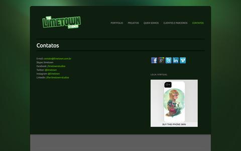 Screenshot of Contact Page limetown.com.br - The Limetown Studios  » Contatos - captured Oct. 6, 2014