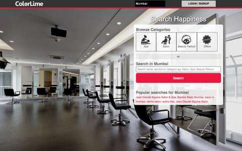 Screenshot of Home Page colorlime.com - Spas Salons Beauty Parlours in Mumbai - Beauty & Wellness | ColorLime Mumbai - captured Sept. 19, 2014