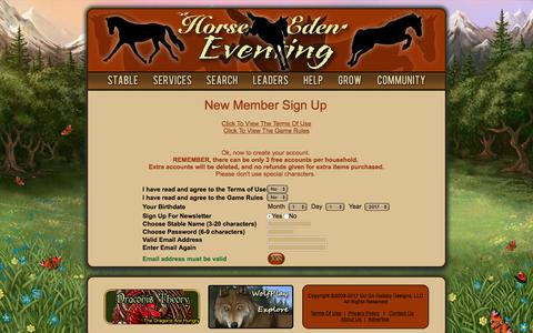 Screenshot of Signup Page horseeden.com - Fun Horse Game For Equestrians! - Breed Your Dream Horse Today - Horse Games - Horse Eden - captured June 29, 2017