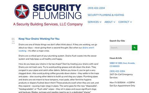 Screenshot of Blog securitybuildingservices.com - Plumber   Denver, Plumbing, Blog   Security Plumbing - captured Sept. 25, 2018