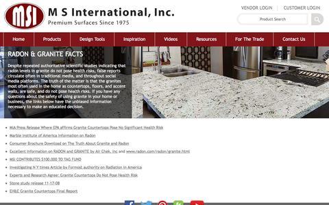 Screenshot of msistone.com - Radon and Granite | M S International, Inc. | Premium Surfaces - captured May 10, 2016