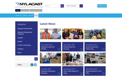Screenshot of Press Page nylacast.com - Latest News & Events from Nylacast - captured Jan. 25, 2018