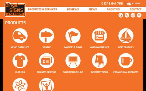 Screenshot of Products Page gingersignsandgraphics.co.uk - Products - captured Oct. 1, 2018