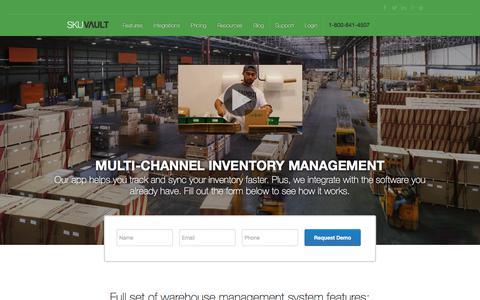 Screenshot of Home Page skuvault.com - SkuVault Warehouse Management System · Home - captured Feb. 19, 2018