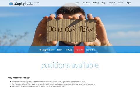 Screenshot of Jobs Page zapty.com - Free Online Project Management, Teamwork Tools - Zapty - captured Feb. 23, 2016