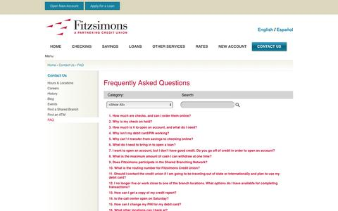 Screenshot of FAQ Page fitzsimonscu.com - Fitzsimons Credit Union > Contact Us > FAQ - captured Oct. 14, 2017
