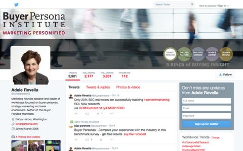Screenshot of Twitter Page twitter.com - Adele Revella (@buyerpersona) | Twitter - captured Oct. 23, 2014