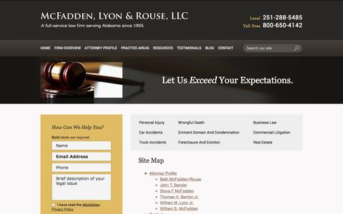 Screenshot of Site Map Page mlrlawyers.com - Site Map | McFadden, Lyon & Rouse, L.L.C. | Mobile, Alabama - captured Oct. 27, 2014