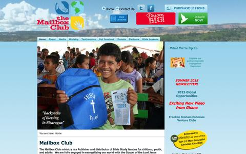Screenshot of Home Page mailboxclub.org - Home - captured Aug. 15, 2015