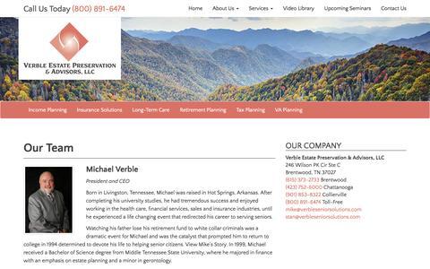 Screenshot of Team Page verbleseniorsolutions.com - Our Team - Verble Estate Preservation & Advisors, LLC - captured Dec. 12, 2016