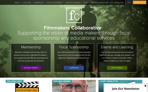 Screenshot of Home Page filmmakerscollab.org - Filmmakers Collaborative - captured Oct. 10, 2018
