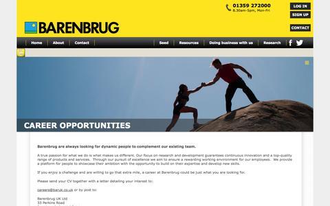 Screenshot of Jobs Page barenbrug.co.uk - Careers | Barenbrug UK - captured Sept. 30, 2014