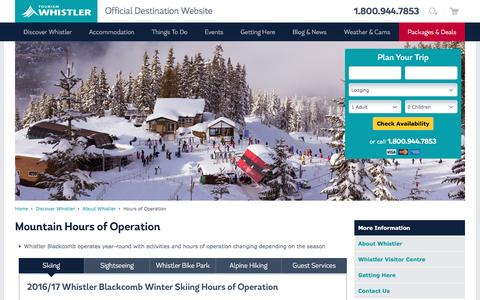 Screenshot of Hours Page whistler.com - Whistler, BC Canada | Hours of Operation | Tourism Whistler - captured Dec. 1, 2016
