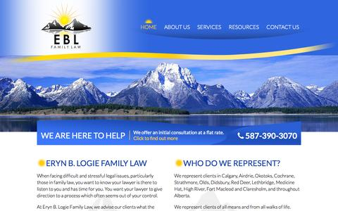 Screenshot of Home Page eblfamilylaw.com - Eryn B. Logie Family Law | (587) 390-3070 | Calgary Divorce Lawyer - captured Oct. 3, 2014