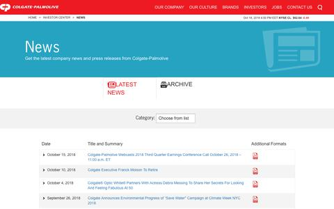 Screenshot of Press Page colgatepalmolive.com - News | Colgate-Palmolive Company - captured Oct. 19, 2018