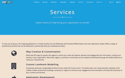 Screenshot of Services Page eegeo.com - Services - eeGeo - captured Dec. 4, 2015