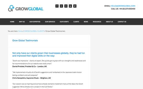 Screenshot of Testimonials Page growglobal.com - Grow Global Testimonials | GROW GLOBAL - captured May 25, 2017