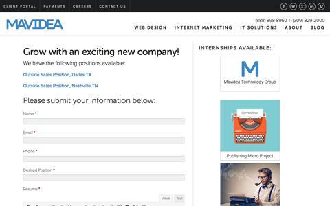 Screenshot of Jobs Page mavidea.com - Careers - Mavidea - captured Nov. 28, 2016