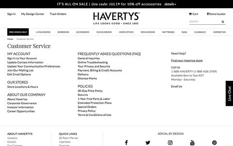 Screenshot of Support Page havertys.com - Customer Service - captured July 16, 2019