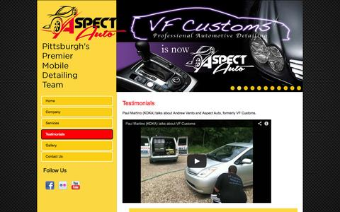 Screenshot of Testimonials Page aspectauto.com - Testimonials | Aspect Auto - captured Oct. 4, 2014