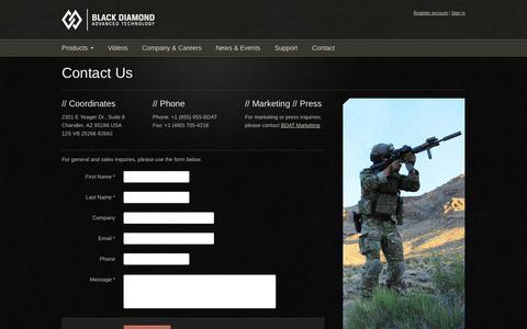 Screenshot of Contact Page bdatech.com - Contact Black Diamond Advanced Technology - captured Oct. 5, 2014