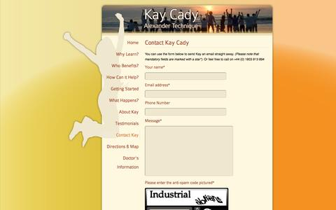 Screenshot of Contact Page kaycady.co.uk - Contact Kay to book your introductory Alexander Technique lesson - captured Oct. 27, 2014