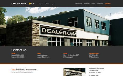 Screenshot of Contact Page dealer.com - Contact Us - Dealer.com - captured Sept. 13, 2014