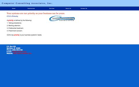 Screenshot of Home Page ccaidaho.com - Computer Consulting Associates - captured Oct. 2, 2014