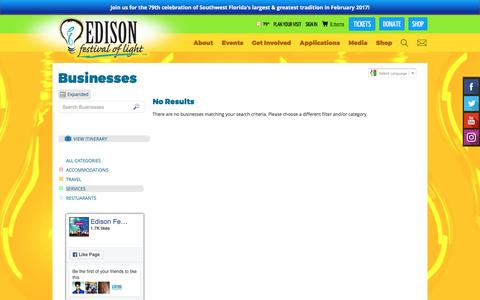 Screenshot of Services Page edisonfestival.org - Businesses - captured Oct. 26, 2016