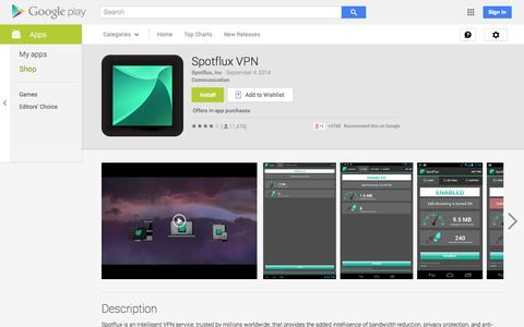 Screenshot of Android App Page google.com - Spotflux VPN - Android Apps on Google Play - captured Oct. 22, 2014