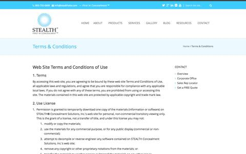 Screenshot of Terms Page stealthconcealment.com - Terms & Conditions - STEALTH® Concealment Solutions, Inc. - captured Oct. 10, 2014