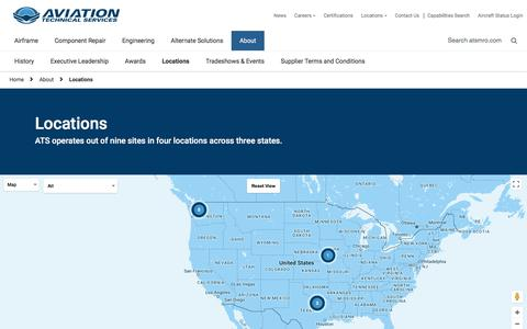 Screenshot of Locations Page atsmro.com - Locations - Aviation Technical Services - captured Oct. 9, 2017