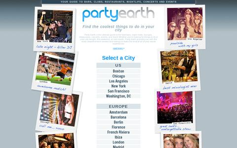 Screenshot of Home Page partyearth.com - Bars, Clubs, Restaurants, Nightlife and Events Guide | Party Earth - captured July 11, 2014
