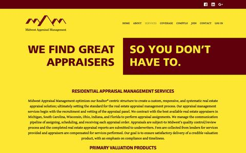Screenshot of Services Page midwestamc.com - Appraisal Management Services MI, SC, IN, OH, WI, FL | Midwest Appraisal Management - captured May 6, 2017