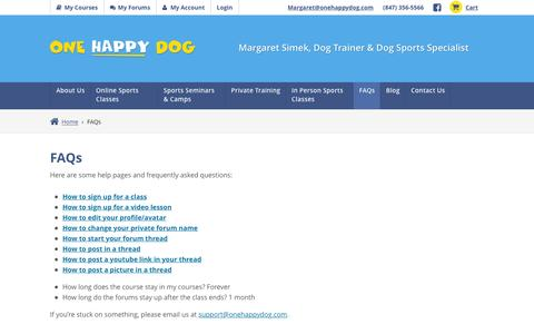 Screenshot of FAQ Page onehappydog.com - FAQs | One Happy Dog - captured Jan. 21, 2016