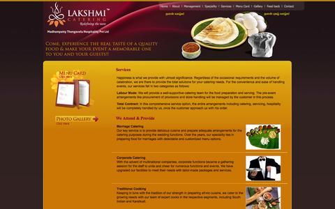 Screenshot of Services Page lakshmicatering.com - Services  - Lakshmi Catering Serives - catering, service, coimbatore, lakshmi, food service, marriage functions - captured Oct. 3, 2014