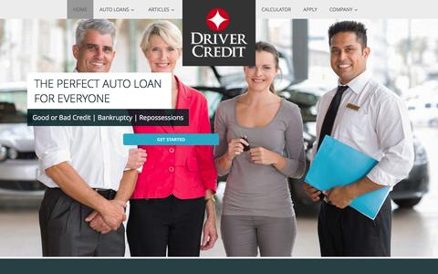 Screenshot of Home Page drivercredit.com - Perfect Auto Loan for Imperfect Credit. Apply today for a Second Chance Car Loan or Bankruptcy Car Financing. - captured Jan. 7, 2016